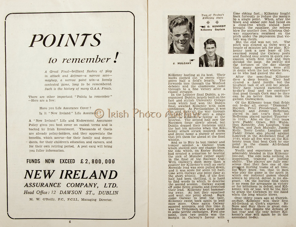 All Ireland Senior Hurling Championship Final,.Brochures,.07.09.1947, 09.07.1947, 7th September 1947,.Kilkenny 0-14, Cork 2-7,.Minor Galway v Tipperary, .Senior Kilkenny v Cork, .Croke Park,..Advertisements, Points to Remember, New Ireland Assurance Company,