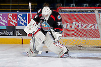KELOWNA, CANADA - SEPTEMBER 28:  Jordon Cooke #30 of the Kelowna Rockets makes a save against the Victoria Royals at the Kelowna Rockets on September 28, 2013 at Prospera Place in Kelowna, British Columbia, Canada (Photo by Marissa Baecker/Shoot the Breeze) *** Local Caption ***
