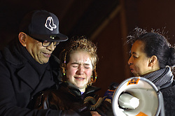 © London News Pictures. 08/02/2016. London, UK. A young woman breaks down in tears during a A Vigil held outside HMP Holloway, London for Sarah Reed who was found dead in her cell. Authorities have launched an investigation into her death. Photo credit: Denis McWilliams/LNP