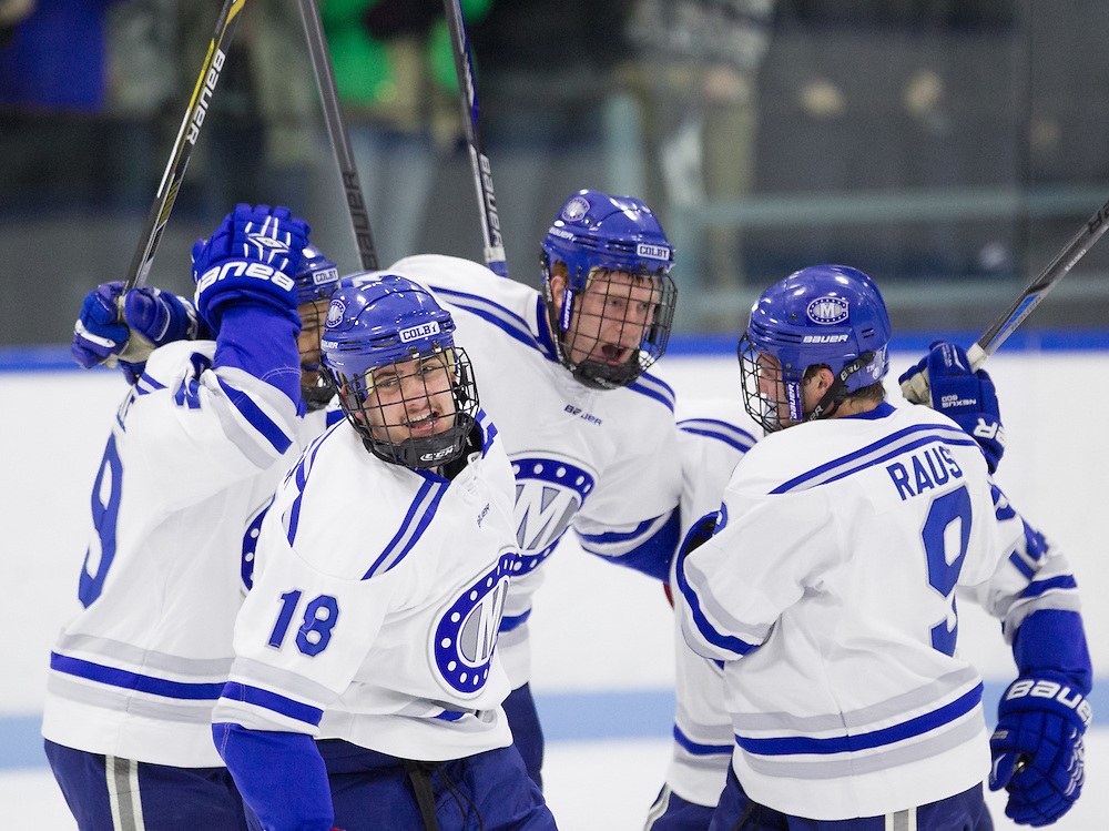Jack Burton, Mario Benicky, Kai Frankville, and Cam MacDonald, of Colby College, in a NCAA Division III hockey game against Bowdoin College on November 22, 2014 in Waterville, ME. (Dustin Satloff/Colby College Athletics)