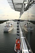 Luxury Cruise Liner enters a Caribbean harbour