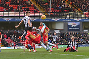 MK Dons forward Kieran Agard (14) kicks overhead  towards goal during the EFL Sky Bet League 2 match between Grimsby Town FC and Milton Keynes Dons at Blundell Park, Grimsby, United Kingdom on 26 January 2019.