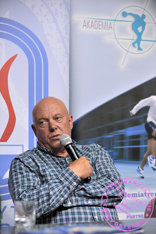 Wieslaw Kmiecik trainer coach of speed skating during conference of olympic trainers and coaches at COS (Centralny Osrodek Sportowy) in Spala on May 13, 2014.<br /> <br /> Poland, Spala, May 13, 2014<br /> <br /> Picture also available in RAW (NEF) or TIFF format on special request.<br /> <br /> For editorial use only. Any commercial or promotional use requires permission.<br /> <br /> Mandatory credit:<br /> Photo by &copy; Adam Nurkiewicz / Mediasport
