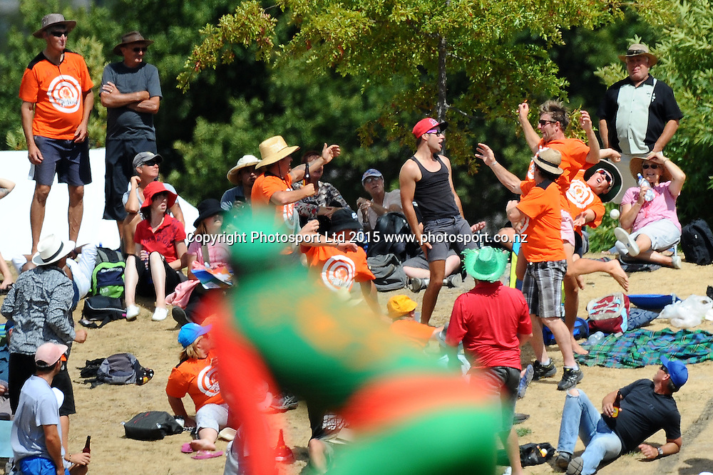 Central Stags player Marty Kain tries to catch the ball during the 2015 ICC Cricket World Cup match between Bangladesh v Scotland. Saxton Oval, Nelson, New Zealand. Thursday 5 March 2015. Copyright Photo: Chris Symes / www.photosport.co.nz