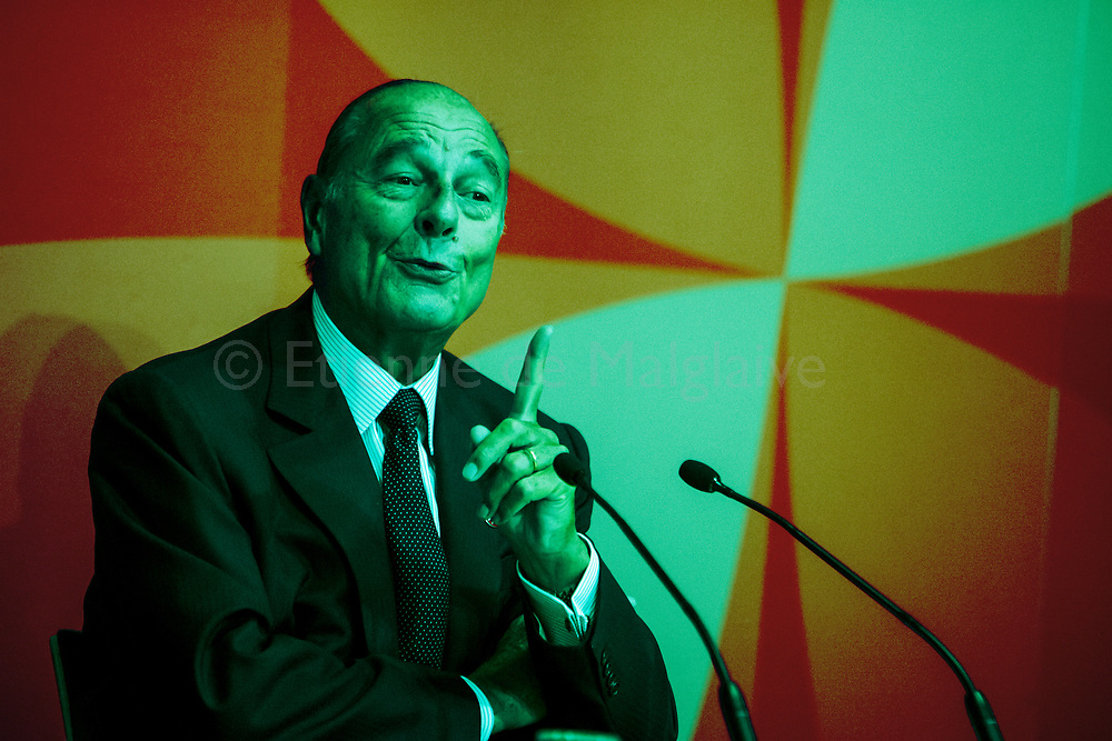 French President Jacques Chirac  attends ASEM 6 Summit in Helsinki. French President Jacques Chirac at a press conference. 11 September 2006.