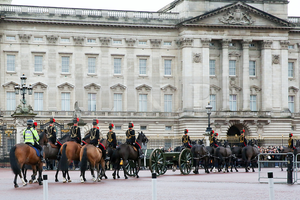 © Licensed to London News Pictures. 06/02/2019. London, UK. Members of The King's Troop Royal Horse Artillery passes by Buckingham Palace on their way to Green Park to fire a 41-gun salute to mark the 67th anniversary of the Queen Elizabeth II's accession to the throne, in Green Park. Photo credit: Dinendra Haria/LNP