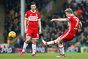 Middlesbrough midfielder Grant Leadbitter (7) shoots at goal during the EFL Sky Bet Championship match between Norwich City and Middlesbrough at Carrow Road, Norwich, England on 3 February 2018. Picture by Phil Chaplin.