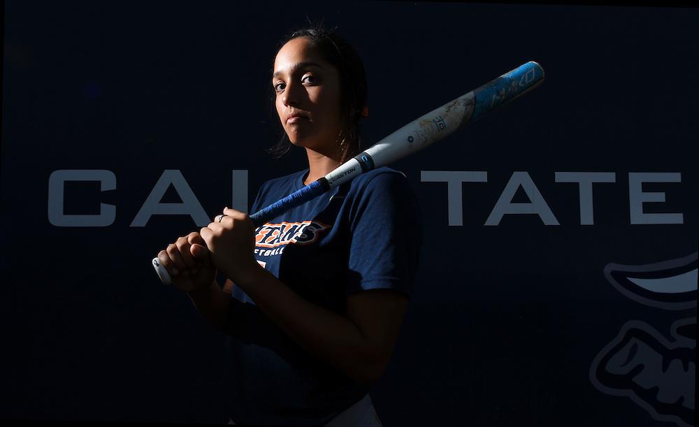 Gabrielle Rodas poses for a photo during the fall ball softball game at Cal State Fullerton in California on Friday.
