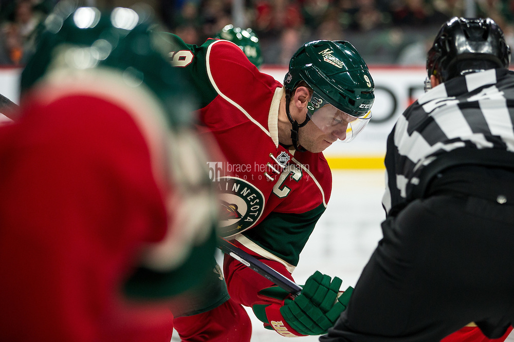 Dec 13, 2016; Saint Paul, MN, USA; Minnesota Wild forward Mikko Koivu (9) against the Florida Panthers at Xcel Energy Center. The Wild defeated the Panthers 5-1. Mandatory Credit: Brace Hemmelgarn-USA TODAY Sports