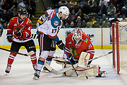 KELOWNA, CANADA - APRIL 07:  Skyler McKenzie #43 of the Portland Winterhawks, Rodney Southam #17 of the Kelowna Rockets, Cole Kehler #31 of the Portland Winterhawks at the Kelowna Rockets game on April 07, 2017 at Prospera Place in Kelowna, British Columbia, Canada.  (Photo By Cindy Rogers/Nyasa Photography,  *** Local Caption ***
