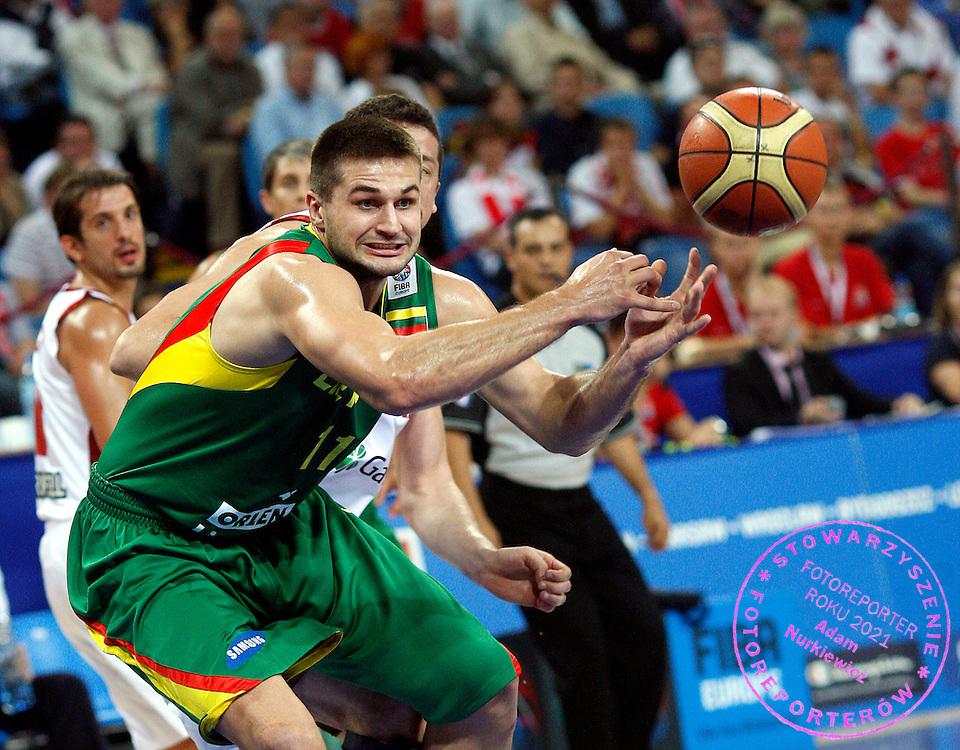 Wroclaw 07/09/2009.EuroBasket 2009.Preliminary Round - Group D.Turkey v Lithuania.Linas Kleiza of Lithuania .Photo by : Piotr Hawalej / WROFOTO