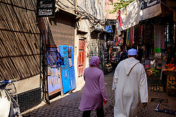 One of the narrow souks in the Medina in Marrakech, Morocco, North Africa<br /> <br /> <br /> (c) Andrew Wilson | Edinburgh Elite media