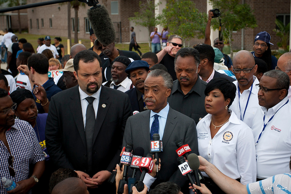 March 31, 2012 - Sanford, Florida, U.S. - Reverend AL SHARPTON speaks to the media before the rally in Sanford, Florida for the justice of Treyvon Martin.