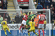 Leon Best (50) of Rotherham United heads towards goal ball cleared by Marco Silvestri (1) of Leeds United during the Sky Bet Championship match between Rotherham United and Leeds United at the New York Stadium, Rotherham, England on 2 April 2016. Photo by Ian Lyall.