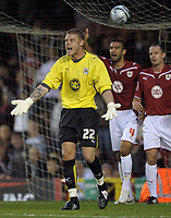Bristol City's Dean Gerken on his debut <br /> Bristol City vs Carlisle<br /> Carling Cup Round 2, Ashton Gate, Bristol, UK<br /> 26/08/2009. Credit Colorsport/Dan Rowley<br /> Football