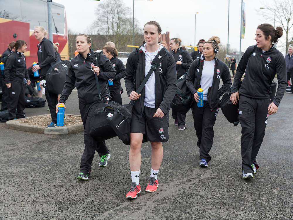 Team arrive at the Stadium, England Women v Italy Women in Women's 6 Nations Match at Twickenham Stoop, Twickenham, England, on 15th February 2015. Final score 39-7.