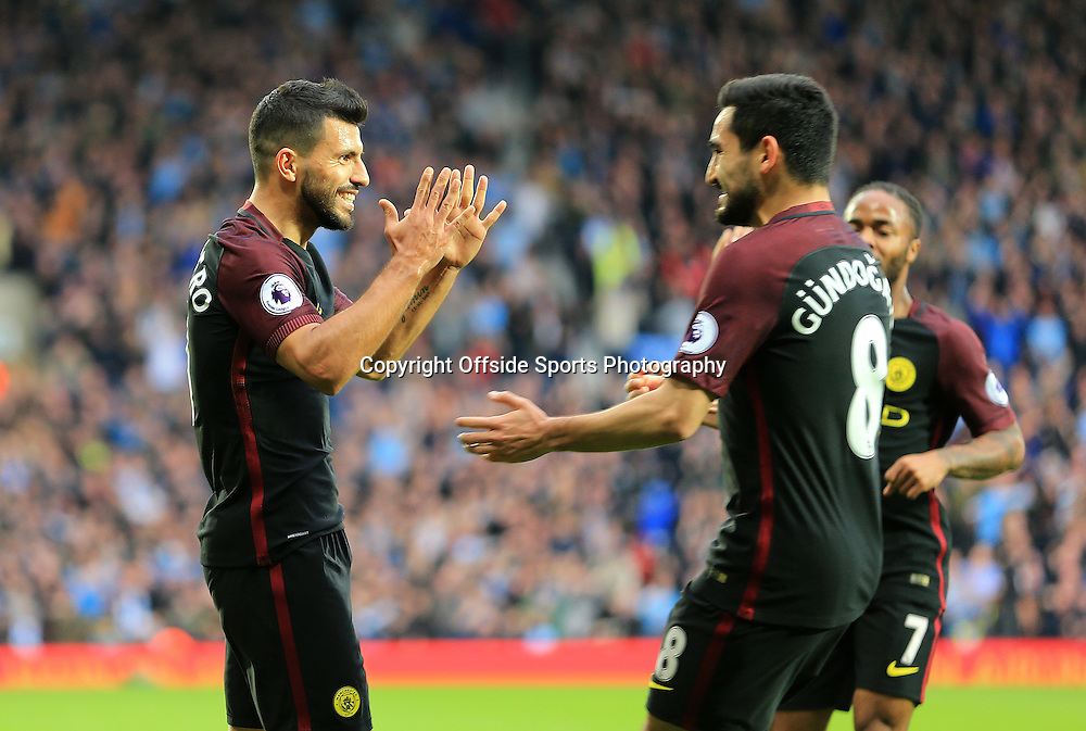 29 October 2016 - Premier League - West Bromwich Albion v Manchester City - Sergio Aguerro of Manchester City celebrates the opening goal (0-1) - Photo: Paul Roberts / Offside.
