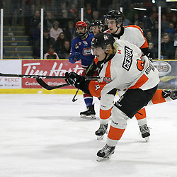 COCHRANE, ON - MAY 4: Garett Giertuga #9 of the Hearst Lumberjacks  shoots the puck during the first period on May 4, 2019 at Tim Horton Events Centre in Cochrane, Ontario, Canada.<br /> (Photo by Tim Bates / OJHL Images)