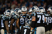 January 3, 2016: Carolina Panthers vs Tampa Bay Buccaneers. Newton, Cam leads the Panthers offense huddle