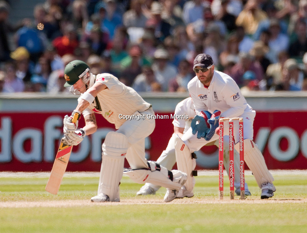 Matt Prior fails to stump Michael Clarke (on 2 runs) off the bowling of Graeme Swann during the fourth Ashes test match between Australia and England at the MCG in Melbourne, Australia. Photo: Graham Morris (Tel: +44(0)20 8969 4192 Email: sales@cricketpix.com) 28/12/10