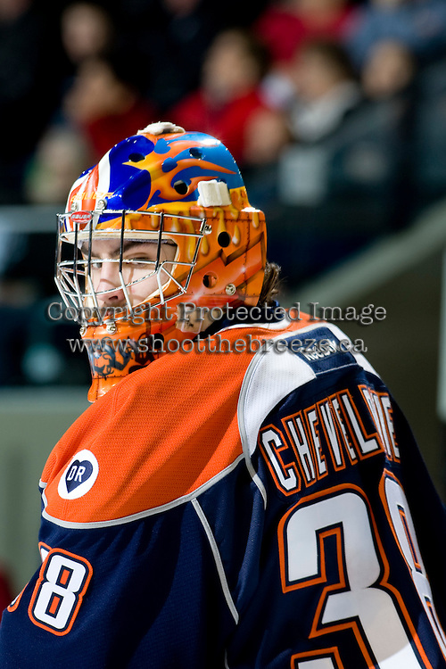 KELOWNA, CANADA, JANUARY 25: Cole Cheveldave #38 of the Kamloops Blazers stands in front of the net as the Kamloops Blazers visit the Kelowna Rockets on January 25, 2012 at Prospera Place in Kelowna, British Columbia, Canada (Photo by Marissa Baecker/Getty Images) *** Local Caption ***