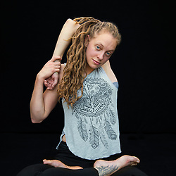 Portrait of school teacher and contortionist Laura Sutton, who's been traveling with the circus the teaching the staff's children for two years. &quot;[A] big part of the lifestyle here is that we train together. I'll be training in the classrooms in the mornings and the kids will come in and drop off their school bags and go do something else while I'm in the middle of a backbend. And then after school I'll go out onto the floor and I'll train with them and the little ones are learning to do their splits and their handstands, and I'll be doing more contortions.&quot;<br />