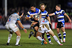 Alafoti Fa'osiliva of Bath Rugby takes on the Montpellier defence - Photo mandatory by-line: Patrick Khachfe/JMP - Mobile: 07966 386802 12/12/2014 - SPORT - RUGBY UNION - Bath - The Recreation Ground - Bath Rugby v Montpellier - European Rugby Champions Cup