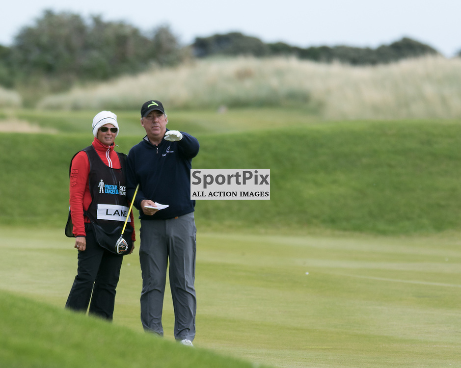 Barry Lane (England) Points the way to his caddie.  Prostate Cancer UK Scottish Senior Open, 28th August 2015