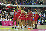 England Women celebrate after their win over Uganda, GA Helen Housby points to the crowd during the Netball World Cup 2019 Preparation match between England Women and Uganda at Copper Box Arena, Queen Elizabeth Olympic Park, United Kingdom on 30 November 2018.