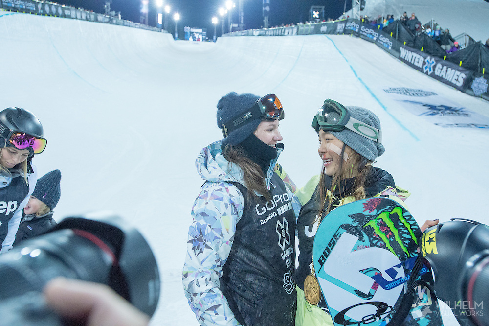 Kelly Clark (left) and Chloe Kim (right) during Women's Snowboard Superpipe Finals during 2015 X Games Aspen at Buttermilk Mountain in Aspen, CO. ©Brett Wilhelm/ESPN
