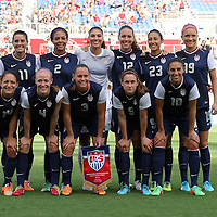 The starting lineup for the U.S. Womens National team during an international friendly soccer match between the United States Women's National soccer team and the Russia National soccer team at FAU Stadium on Saturday, February 8, in Boca Raton, Florida. The U.S. won the match by a score of 7-0. (AP Photo/Alex Menendez)