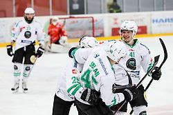 Players of Olimpija celebrates during ice hockey match between HDD SIJ Acroni Jesenice and HDD Olimpija Ljubljana in Final of Slovenian League 2016/17, on April 9, 2017 in Podmezaklja, Jesenice, Slovenia. Photo by Matic Klansek Velej / Sportida