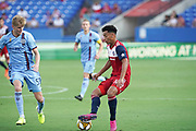 FC Dallas Mid Fielder Brandon Servania (18) battles NYCFC midfeilder  Keaton Parks (55) for possession while NYCFC midfeilder Alexander Ring (8) looks on during a MLS soccer game, Sunday, Sept. 22, 2019, in Frisco, Tex. FC Dallas and New York FC draw 1-1 (Wayne Gooden/Image of Sport)