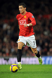 Cristiano Ronaldo of Manchester United in action during the Barclays Premier League match between Manchester United and Fulham at Old Trafford on February 18 2009, in Manchester, England.