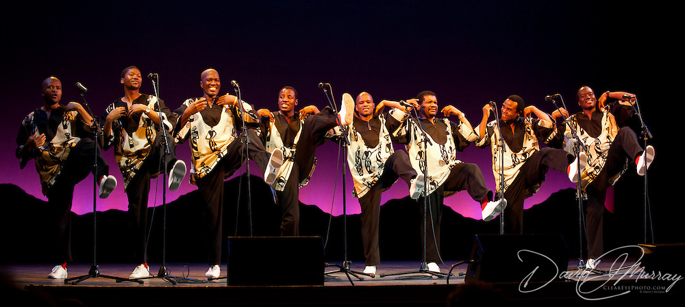 Ladysmith Black Mambazo performing at The Music Hall, Portsmouth, NH. L to R: Sibongiseni Shabalala, Thamsanqa Shabalala, Albert Mazibuko, Ngane Dlamini, Msizi Shabalala, Russel Methembu, Thulani Shabalala, and Abednego Mazibuko