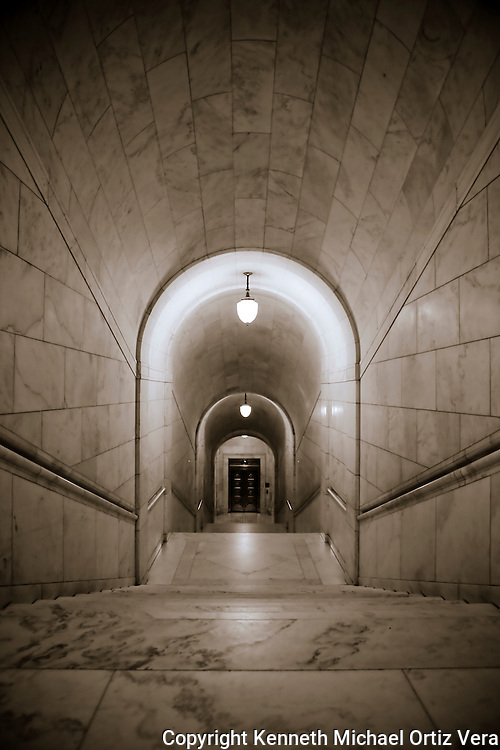 This is a shot leading downstairs to the sub-basement in the U.S. Supreme Court building in Washington D.C.