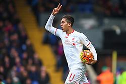Goal, Roberto Firmino of Liverpool scores the equaliser, Crystal Palace 1-1 Liverpool - Mandatory byline: Jason Brown/JMP - 07966386802 - 06/03/2016 - FOOTBALL - London - Selhurst Park - Crystal Palace v Liverpool - Barclays Premier League