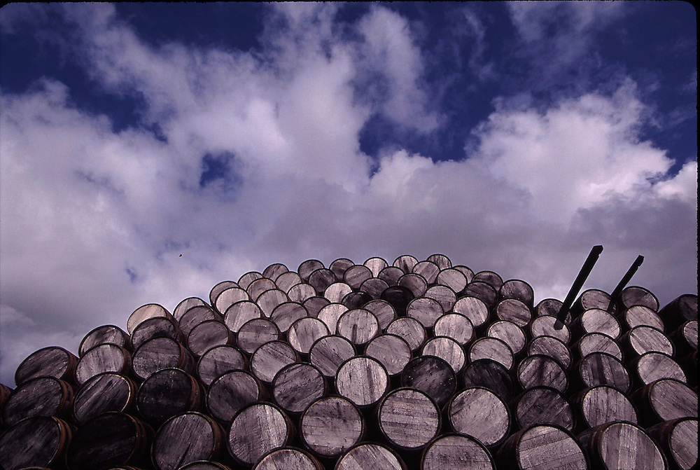 Stacks of casks in Dufftown, Scotland.