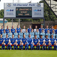 St Johnstone Squad, season 2002-2003<br /> Back from left, Mark Ferry, Manny Panther, Grant Murray, Tommy Lovenkrands, Ryan Stevenson, Darren Dods, Kevin Cuthbert, Jim Weir, Alan Main, Ian Maxwell, John Robertson, Stuart McCluskey, Ryan McCann, Martin Maher.<br /> Middle from left, Nick Summersgill, (physio), Colin Strickland, Euan Hall, David Dodds, Craig Scaites, Frazer Briggs, Edward Malone, Daniel Moon, Craig Johnston, Neil Gibson, Mark Baxter, Steven MacDonald, David Greenhill, Jocky Peebles, (Asst Manager)<br /> Front row from left, Alasatir Stevenson, (coach), David McClune, Ross Forsyth, Craig Russell, Peter MacDonald, Marc McCulloch, Billy Stark (Manager), Keigan Parker, Paddy Connolly, Paul Hartley, Martin Fotheringham, Mark Reilly and Billy Kirkwood (asst Manager)<br /> Picture by Graeme Hart.<br /> Copyright Perthshire Picture Agency<br /> Tel: 01738 623350  Mobile: 07990 594431