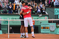 Bildnummer: 10767315  Datum: 11.06.2012  Copyright: imago/PanoramiC..Rafael Nadal (ESP) et Novak Djokovic (SRB) - Finalistes TENNIS : Roland Garros - Jour 16 - Finale - ATP Tennis Herren - Paris - 11/06/2012 Couvercelle/Tennismag/Panoramic PUBLICATIONxNOTxINxFRAxITAxBEL ; Tennis French Open Paris Grand Slam Sieg Sieger Jubel xdp x0x 2012 quer premiumd....Image number 10767315 date 11 06 2012 Copyright imago Panoramic Rafael Nadal ESP ET Novak Djokovic Srb finalists Tennis Roland Garros Jour 16 Final ATP Tennis men Paris 11 06 2012   Panoramic PUBLICATIONxNOTxINxFRAxITAxBEL Tennis French Open Paris Grand Slam Victory Winner cheering  x0x 2012 horizontal premiumd