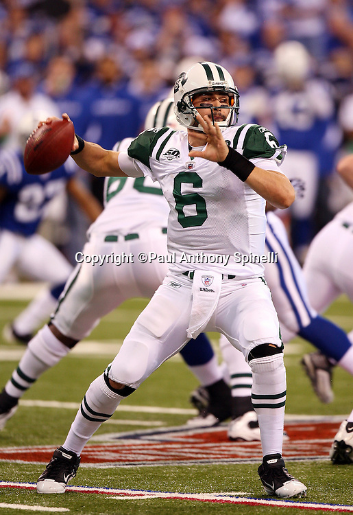 New York Jets quarterback Mark Sanchez (6) throws a pass during the AFC Championship football game against the Indianapolis Colts, January 24, 2010 in Indianapolis, Indiana. The Colts won the game 30-17. ©Paul Anthony Spinelli