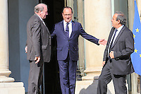 Francois HOLLANDE / Michel PLATINI / Jacques LAMBERT - 10.06.2015 - Rencontre autours de l'Euro 2016 - L'Elysee <br /> Photo : Icon Sport/ Sebastien Muylaert