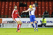 Walsall's Anthony Forde attempts to control the ball during the Sky Bet League 1 match between Swindon Town and Walsall at the County Ground, Swindon, England on 24 November 2015. Photo by Shane Healey.