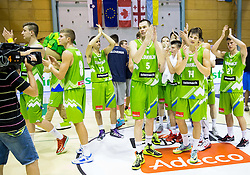 Edo Muric of Slovenia, Uros Slokar of Slovenia, Jaka Klobucar of Slovenia, Aleksej Nikolic of Slovenia after the friendly basketball match between National teams of Slovenia and Georgia in day 2 of Adecco Cup 2014, on July 25, 2014 in Dvorana OS 1, Murska Sobota, Slovenia. Photo by Vid Ponikvar / Sportida.com