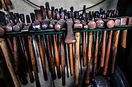 The tools of Metal craftsman Nol Putnam in his studio in Rappahannock  County Virginia