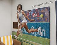 Kooyong Lawn Tennis Club existiert seit 1892 in Kooyong,<br /> Mosaik Bild von Evonne Goolagong auf der Goolagong Terrasse.