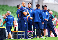 Rugby Union - 2019 pre-Rugby World Cup warm-up - Ireland vs. Italy<br /> <br /> Sergio Parisse of Italy watches his team mates warm up prior to the game at The Aviva Stadium.<br /> <br /> COLORSPORT/KEN SUTTON