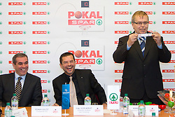 Roman Volcic of KZS, mag. Igor Mervic of Spar and Boris Majer, commissioner of Spar Cup at Spar Cup quarter-final draw, on January 11, 2011 in BTC, Ljubljana, Slovenia.  (Photo By Vid Ponikvar / Sportida.com)