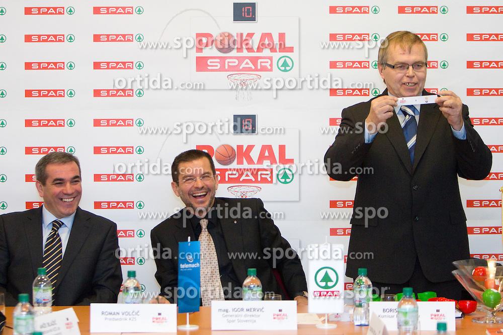 Roman Volcic of KZS, mag. Igor Mervic of Spar and Boris Majer, commissioner of Spar Cup at Spar Cup quarter-final draw, on January 11, 2011 in BTC, Ljubljana, Slovenia.  (Photo By Vid Ponikvar / Sportida.com)