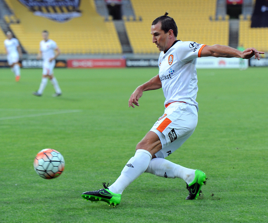 Brisbane Roar FC's Shane Stefanutto against the Phoenix in the A-League football match at Westpac Stadium, Wellington, New Zealand, Sunday, January 10, 2016. Credit:SNPA / Ross Setford